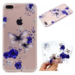 Blue Butterfly Flowers Super Clear Soft TPU Back Cover for iPhone 6s Plus / 6 Plus 6P(5.5 inch)