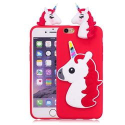 Unicorn Soft 3D Silicone Case for iPhone 6s Plus / 6 Plus 6P(5.5 inch) - Red