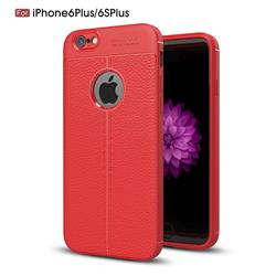 Luxury Auto Focus Litchi Texture Silicone TPU Back Cover for iPhone 6s Plus / 6 Plus 6P(5.5 inch) - Red