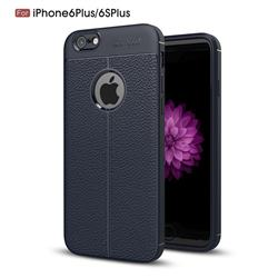 Luxury Auto Focus Litchi Texture Silicone TPU Back Cover for iPhone 6s Plus / 6 Plus 6P(5.5 inch) - Dark Blue