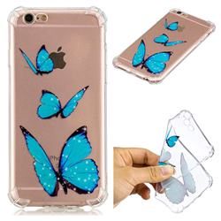 Blue butterfly Anti-fall Clear Varnish Soft TPU Back Cover for iPhone 6s Plus / 6 Plus 6P(5.5 inch)
