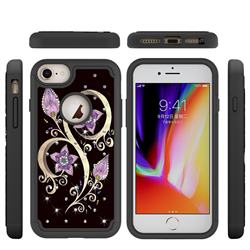 Peacock Flower Studded Rhinestone Bling Diamond Shock Absorbing Hybrid Defender Rugged Phone Case Cover for iPhone 6s Plus / 6 Plus 6P(5.5 inch)