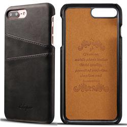 Suteni Retro Classic Card Slots Calf Leather Coated Back Cover for iPhone 6s Plus / 6 Plus 6P(5.5 inch) - Black