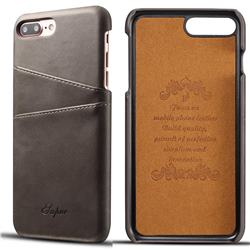 Suteni Retro Classic Card Slots Calf Leather Coated Back Cover for iPhone 6s Plus / 6 Plus 6P(5.5 inch) - Gray