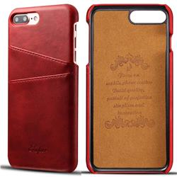 Suteni Retro Classic Card Slots Calf Leather Coated Back Cover for iPhone 6s Plus / 6 Plus 6P(5.5 inch) - Red