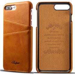 Suteni Retro Classic Card Slots Calf Leather Coated Back Cover for iPhone 6s Plus / 6 Plus 6P(5.5 inch) - Khaki