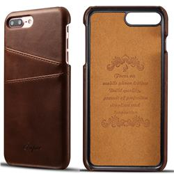 Suteni Retro Classic Card Slots Calf Leather Coated Back Cover for iPhone 6s Plus / 6 Plus 6P(5.5 inch) - Brown