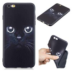 Bearded Feline 3D Embossed Relief Black TPU Cell Phone Back Cover for iPhone 6s Plus / 6 Plus 6P(5.5 inch)