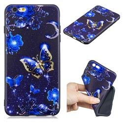 Phnom Penh Butterfly 3D Embossed Relief Black TPU Cell Phone Back Cover for iPhone 6s Plus / 6 Plus 6P(5.5 inch)