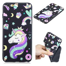 Candy Unicorn 3D Embossed Relief Black TPU Cell Phone Back Cover for iPhone 6s Plus / 6 Plus 6P(5.5 inch)