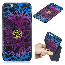 Colorful Lace 3D Embossed Relief Black TPU Cell Phone Back Cover for iPhone 6s Plus / 6 Plus 6P(5.5 inch)