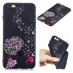 Corolla Girl 3D Embossed Relief Black TPU Cell Phone Back Cover for iPhone 6s Plus / 6 Plus 6P(5.5 inch)