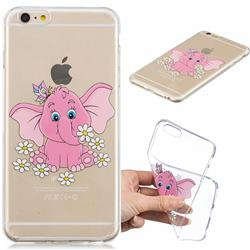 Tiny Pink Elephant Clear Varnish Soft Phone Back Cover for iPhone 6s Plus / 6 Plus 6P(5.5 inch)
