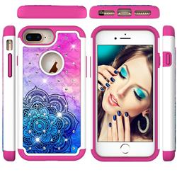 Colored Mandala Studded Rhinestone Bling Diamond Shock Absorbing Hybrid Defender Rugged Phone Case Cover for iPhone 6s Plus / 6 Plus 6P(5.5 inch)