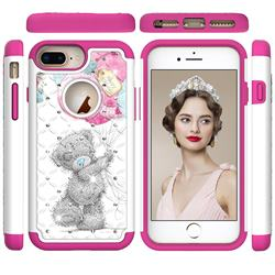 Gray Bear Studded Rhinestone Bling Diamond Shock Absorbing Hybrid Defender Rugged Phone Case Cover for iPhone 6s Plus / 6 Plus 6P(5.5 inch)