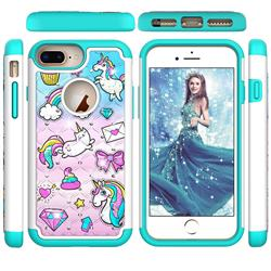 Fashion Unicorn Studded Rhinestone Bling Diamond Shock Absorbing Hybrid Defender Rugged Phone Case Cover for iPhone 6s Plus / 6 Plus 6P(5.5 inch)