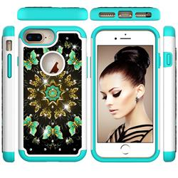 Golden Butterflies Studded Rhinestone Bling Diamond Shock Absorbing Hybrid Defender Rugged Phone Case Cover for iPhone 6s Plus / 6 Plus 6P(5.5 inch)