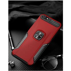 Knight Armor Anti Drop PC + Silicone Invisible Ring Holder Phone Cover for iPhone 6s Plus / 6 Plus 6P(5.5 inch) - Red