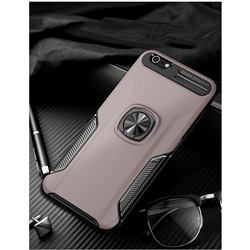 Knight Armor Anti Drop PC + Silicone Invisible Ring Holder Phone Cover for iPhone 6s Plus / 6 Plus 6P(5.5 inch) - Rose Gold