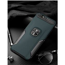Knight Armor Anti Drop PC + Silicone Invisible Ring Holder Phone Cover for iPhone 6s Plus / 6 Plus 6P(5.5 inch) - Navy