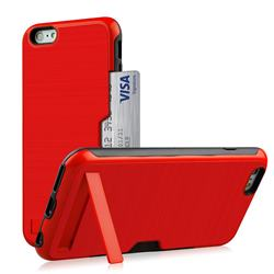 Brushed 2 in 1 TPU + PC Stand Card Slot Phone Case Cover for iPhone 6s Plus / 6 Plus 6P(5.5 inch) - Red
