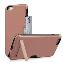 Brushed 2 in 1 TPU + PC Stand Card Slot Phone Case Cover for iPhone 6s Plus / 6 Plus 6P(5.5 inch) - Rose Gold