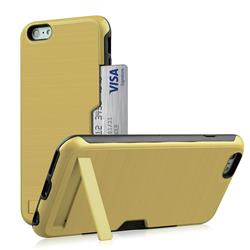 Brushed 2 in 1 TPU + PC Stand Card Slot Phone Case Cover for iPhone 6s Plus / 6 Plus 6P(5.5 inch) - Golden