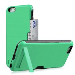 Brushed 2 in 1 TPU + PC Stand Card Slot Phone Case Cover for iPhone 6s Plus / 6 Plus 6P(5.5 inch) - Mint Green