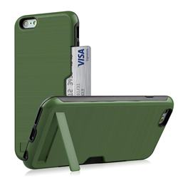 Brushed 2 in 1 TPU + PC Stand Card Slot Phone Case Cover for iPhone 6s Plus / 6 Plus 6P(5.5 inch) - Army Green