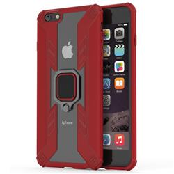 Predator Armor Metal Ring Grip Shockproof Dual Layer Rugged Hard Cover for iPhone 6s Plus / 6 Plus 6P(5.5 inch) - Red