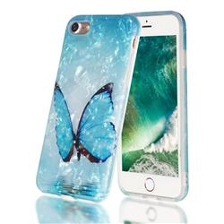 Sea Blue Butterfly Shell Pattern Clear Bumper Glossy Rubber Silicone Phone Case for iPhone 6s Plus / 6 Plus 6P(5.5 inch)