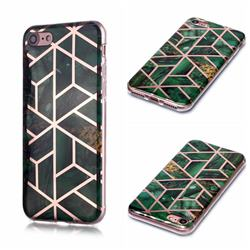 Green Rhombus Galvanized Rose Gold Marble Phone Back Cover for iPhone 6s Plus / 6 Plus 6P(5.5 inch)