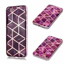 Purple Rhombus Galvanized Rose Gold Marble Phone Back Cover for iPhone 6s Plus / 6 Plus 6P(5.5 inch)