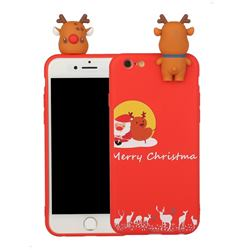 Moon Santa and Elk Christmas Xmax Soft 3D Doll Silicone Case for iPhone 6s Plus / 6 Plus 6P(5.5 inch)