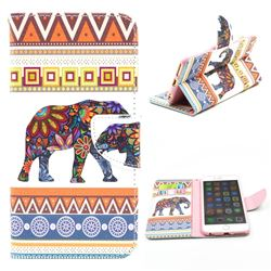 Tribal Elephant Leather Wallet Case for iPhone 6 Plus (5.5 inch)