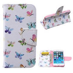 Colored Butterflies Leather Wallet Case for iPhone 6 Plus (5.5 inch)