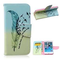 Feather Bird Leather Wallet Case for iPhone 6 Plus (5.5 inch)