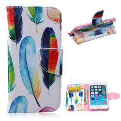 Colored Feather Leather Wallet Case for iPhone 6 Plus (5.5 inch)