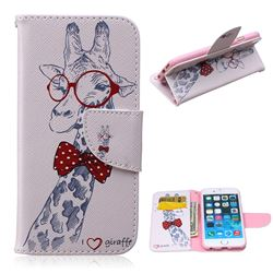 Glasses Giraffe Leather Wallet Case for iPhone 6 Plus (5.5 inch)