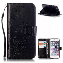 Embossing Butterfly Flower Leather Wallet Case for iPhone 6s Plus / iPhone 6 Plus (5.5 inch) - Black