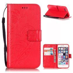 Embossing Butterfly Flower Leather Wallet Case for iPhone 6s Plus / iPhone 6 Plus (5.5 inch) - Red