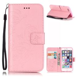 Embossing Butterfly Flower Leather Wallet Case for iPhone 6s Plus / iPhone 6 Plus (5.5 inch) - Pink