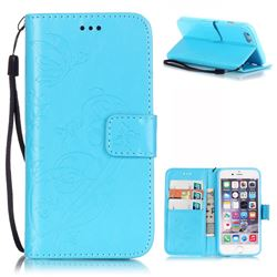 Embossing Butterfly Flower Leather Wallet Case for iPhone 6s Plus / iPhone 6 Plus (5.5 inch) - Blue