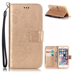 Embossing Butterfly Flower Leather Wallet Case for iPhone 6s Plus / iPhone 6 Plus (5.5 inch) - Champagne