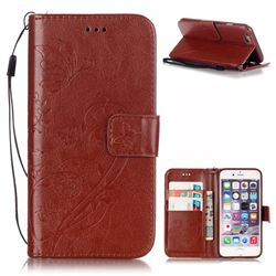 Embossing Butterfly Flower Leather Wallet Case for iPhone 6s Plus / iPhone 6 Plus (5.5 inch) - Brown