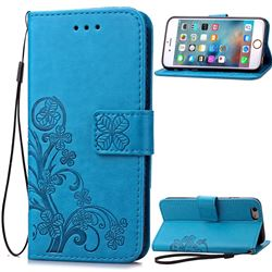 Embossing Imprint Four-Leaf Clover Leather Wallet Case for iPhone 6s Plus / 6 Plus (5.5 inch) - Blue
