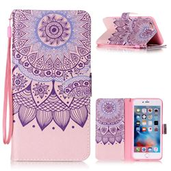 Purple Sunflower Leather Wallet Phone Case for iPhone 6s Plus / 6 Plus (5.5 inch)