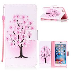 Peach Flower Leather Wallet Phone Case for iPhone 6s Plus / 6 Plus (5.5 inch)