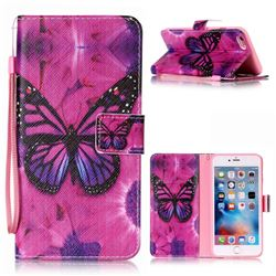 Black Butterfly Leather Wallet Phone Case for iPhone 6s Plus / 6 Plus (5.5 inch)