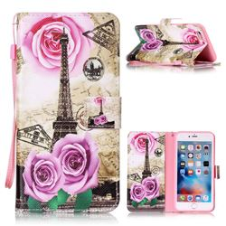 Rose Eiffel Tower Leather Wallet Phone Case for iPhone 6s Plus / 6 Plus (5.5 inch)